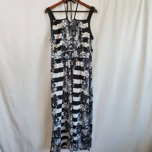 NY Collection Dress - Black & White floral stripes